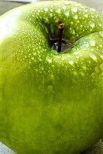 Preview iPhone wallpaper One green apple, water droplets