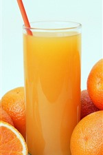 Preview iPhone wallpaper Oranges, drinks, glass cup