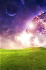 Preview iPhone wallpaper Planets, green meadow, dream world