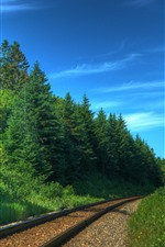 Preview iPhone wallpaper Railroad, green trees, blue sky