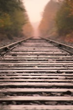 Preview iPhone wallpaper Railroad, track, rocks, hazy