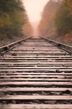 Railroad, track, rocks, hazy