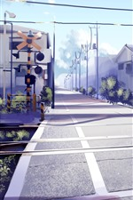 Preview iPhone wallpaper Railway crossings, road, houses, anime