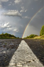 Preview iPhone wallpaper Rainbow, road, trees, clouds, after rain