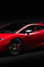 Preview iPhone wallpaper Red Lamborghini supercar, black background