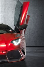 Preview iPhone wallpaper Red Lamborghini supercar front view, doors opened