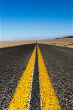 Estrada, linhas amarelas, longe, asfalto