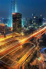 Shenzhen beautiful night cityscape, skyscrapers, lights, China