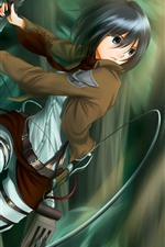 Preview iPhone wallpaper Short hair anime girl, sword