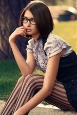 Preview iPhone wallpaper Short hair girl, sit, grass