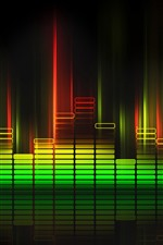 Preview iPhone wallpaper Sound waves lights, colorful, black background