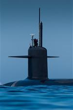 Submarine, blue sea