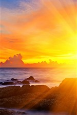 Preview iPhone wallpaper Sun rays, sunset, sea, glare, rocks, clouds