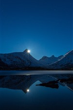 Preview iPhone wallpaper Sunset, lake, mountains, snow, water reflection, stars, dusk