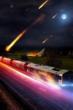 Preview iPhone wallpaper Train, speed, meteorite fall, moon, night