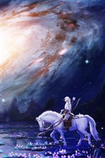 Preview iPhone wallpaper White horse, girl, flowers, swamp, galaxy, beautiful art picture