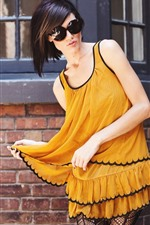 Preview iPhone wallpaper Yellow skirt girl, sunglasses