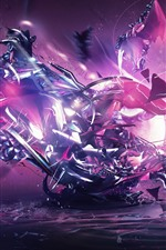 Preview iPhone wallpaper Abstract machine, purple style, creative design