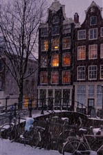 Preview iPhone wallpaper Amsterdam, city, houses, snow, bridge, winter