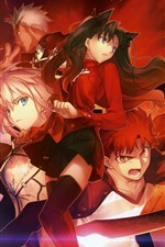 Preview iPhone wallpaper Anime girl and boy, sword, red style