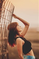 Preview iPhone wallpaper Asian girl, pose, fence, dusk