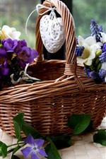 Preview iPhone wallpaper Basket, white and purple flowers, love heart
