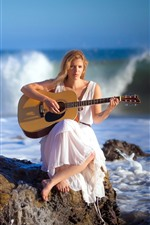 Preview iPhone wallpaper Blonde girl, guitar, sea