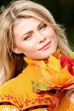 Preview iPhone wallpaper Blonde girl, smile, colorful maple leaves, autumn