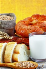 Preview iPhone wallpaper Breakfast, bread, milk