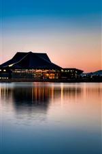 Buildings, bridge, lake, night, water reflection