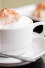 Preview iPhone wallpaper Cappuccino coffee, white cup, foam, hazy
