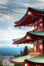 Preview iPhone wallpaper City, temple, top view, mountains, Japan