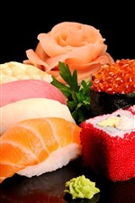 Preview iPhone wallpaper Delicious japanese food, sushi, seafood, black background