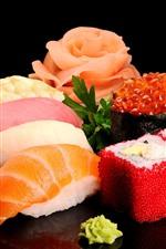 Delicious japanese food, sushi, seafood, black background