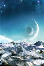 Preview iPhone wallpaper Dream world, planets, snow, space, beautiful