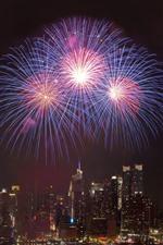Fireworks, city, night, skyscrapers