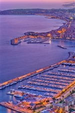 Preview iPhone wallpaper France, Menton, city, boats, port, sea, dusk, lights