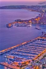 France, Menton, city, boats, port, sea, dusk, lights