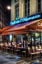 France, Paris, cafe, night, lights, street, city