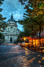 Preview iPhone wallpaper France, cafe, trees, street, dusk, city
