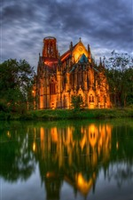 Preview iPhone wallpaper Germany, cathedral, fountain, pond, trees, dusk
