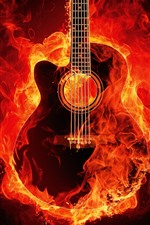 Preview iPhone wallpaper Guitar with fire, creative picture