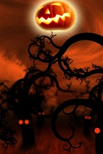 Preview iPhone wallpaper Halloween, trees, pumpkin, night, creative picture