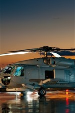 Preview iPhone wallpaper Helicopter, night, stay