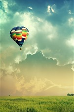 Preview iPhone wallpaper Hot air balloon, fields, sky, clouds