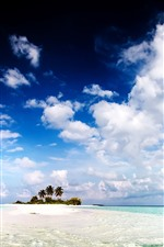 Preview iPhone wallpaper Island, palm trees, blue sea, white clouds, tropical