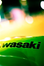 Kawasaki, logotipo, noite, círculos de luz