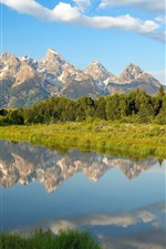 Preview iPhone wallpaper Lake, mountains, trees, clouds, water reflection, Wyoming
