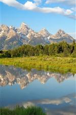 Vorschau des iPhone Hintergrundbilder See, Berge, Bäume, Wolken, Wasserreflexion, Wyoming