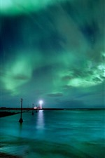 Preview iPhone wallpaper Lighthouse, northern lights, sea, beautiful sky, night